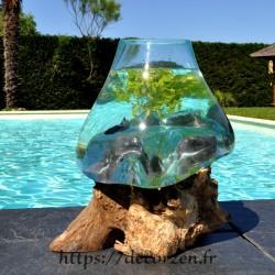 Aquarium ou bol à punch en verre recyclé soufflé et moulé sur du bois