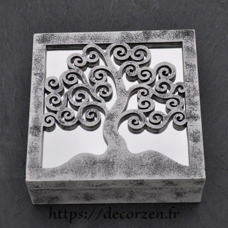 Boîte miroir arbre de vie en carton recyclé dur comme du bois