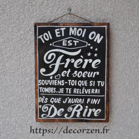 Tableau phrases peint à la main sur du bois recyclé