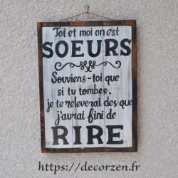 Tableau phrases peint à la main sur du bois recyclé, humour et bonne huemur