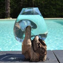 Aquarium ou  vase en verre recyclé soufflé à la bouche en fusion sur du bois flotté, le vase est amovible pour un lavage aisé