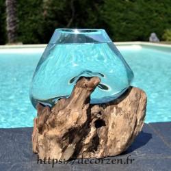 Bol à cocktail ou  aquarium en verre recyclé soufflé et coulé à la bouche en fusion sur du bois flotté, le vase est amovible