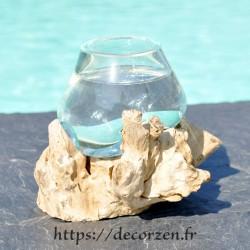 Verre à duo ou  vase en verre recyclé soufflé à la bouche en fusion sur du bois flotté, le vase est amovible pour le lavage