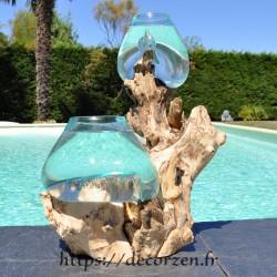 2 aquariums en verre recyclé soufflé en fusion directement sur du bois flotté, le verre est amovible pour le laver