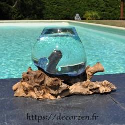 bol à cocktail ou  vase en verre recyclé soufflé à la bouche en fusion sur du bois flotté, le vase est amovible pour le lavage