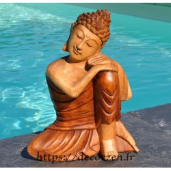 Statuette de Bouddha en teck massif