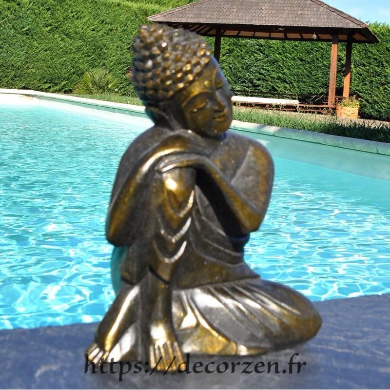 Sculpture de Bouddha en teck massif