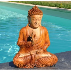 Statue de Buddha en bois de teck