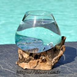 Splendide verre à duo ou vase en verre soufflé sur du bois flotté VS202.025