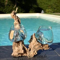 2 aquariums en verre recyclé soufflé en fusion directement sur du bois flotté, les vases sont amovibles pour le lavage