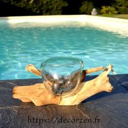 Terrarium, ramequin apéro en verre recyclé soufflé coulé en fusion sur du bois flotté, le verre se sort pour le laver