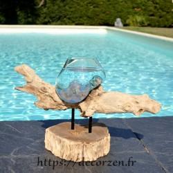 Verre à duo ou vase en verre soufflé et moulé fondu sur le bois, le verre est amovible pour le laver