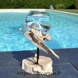 Verre à duo ou vase en verre soufflé et coulé en fusion sur le bois, le verre est amovible pour le laver