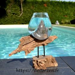 verre à duo ou vase en verre soufflé et coulé en fusion sur le bois, le verre est amovible