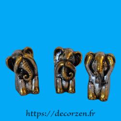 3 éléphants de la sagesse, je ne dis rien, je ne sais, rien, je ne vois rien, je n'entend rien