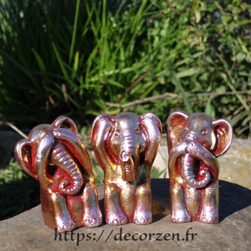 3 éléphants de la sagesse, je ne dis rien, je ne sais, rien, je ne vois rien, je n'entend rien, une pensée du Bouda