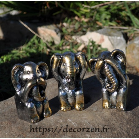 3 éléphants de la sagesse, je ne dis rien, je ne sais, rien, je ne vois rien, je n'entend rien, une maxime de Bouddha