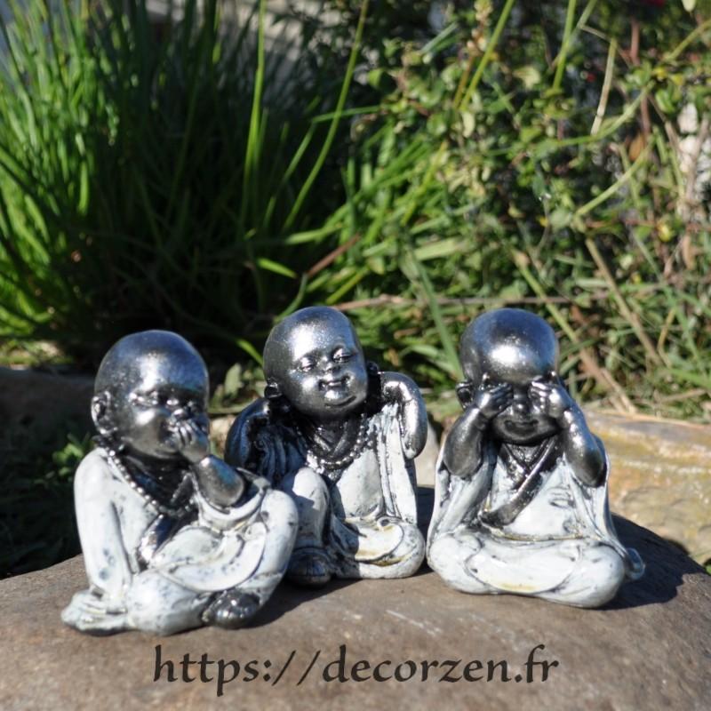 3 bébés Bouddha de la sagesse, je ne dis rien, je ne sais, rien, je ne vois rien, je n'entend rien