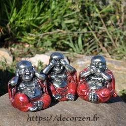 Bouddha de la sagesse, je ne dis rien, je ne sais, rien, je ne vois rien, je n'entend rien, un principe de Bouda