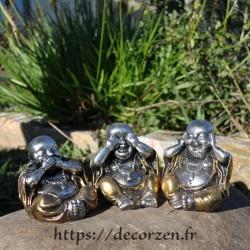 Bouddha de la sagesse, je ne dis rien, je ne sais, rien, je ne vois rien, je n'entend rien; un principe de Bouda