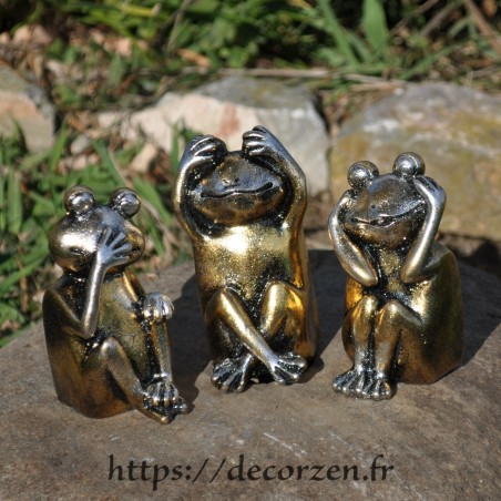 3 grenouilles de la sagesse, je ne dis rien, je ne sais, rien, je ne vois rien, je n'entend rien; un principe de Buddha