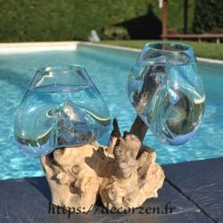 2 aquariums en verre recyclé soufflé en fusion directement sur du bois flotté, les vases sont amovibles pour les laver