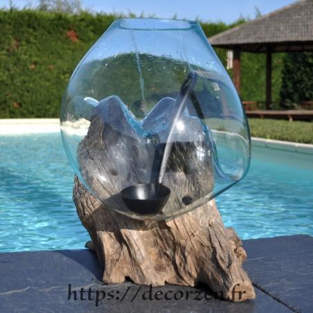 Aquarium ou  vase en verre recyclé soufflé en fusion sur du bois flotté, le vase est amovible pour le lavage