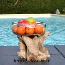 Terrarium, bonbonnière ou ramequin à apéro en verre recyclé soufflé coulé en fusion sur du bois flotté, le vase se sort