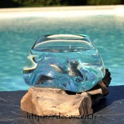 bol à cocktail ou  vasque en verre recyclé soufflé à la bouche en fusion sur du bois flotté, le vase est amovible pour le lavage