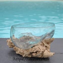 Terrarium, bonbonnière ou bol à apéro en verre recyclé soufflé et moulé en fusion sur du bois flotté. Le vase est amovible