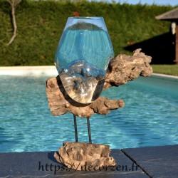 Aquarium ou gros vase en verre soufflé et moulé en fusion sur le bois, le verre est amovible