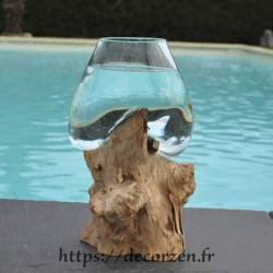 Verre à duo ou  vase en verre recyclé soufflé sur du bois flotté, le vase est amovible pour le laver en machine
