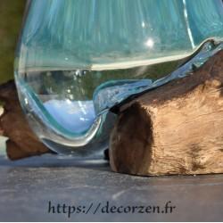 Superbe verre à duo ou coupe à cocktail en verre soufflé sur du bois flotté VS202.270