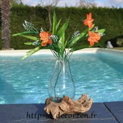 Carafe ou vase en verre recyclé soufflé en fusion sur du bois flotté? le verre est amovible pour le laver au lave-vaisselle