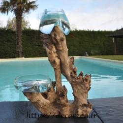 1 vase et 1 terrarium en verre recyclé soufflé en fusion directement sur du bois flotté, les vases sont amovibles pour les laver