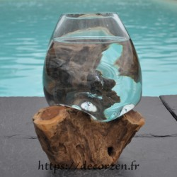 Verre à cocktail ou  vase en verre recyclé soufflé en fusion sur du bois flotté, le vase est amovible pour le laver