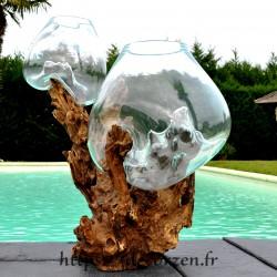 aquariums en verrre recyclé soufflé sur le bois