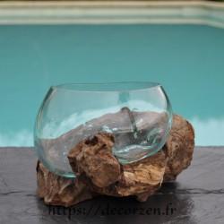 Terrarium ou ramequin apéro en verre recyclé soufflé en fusion sur du bois flotté. Le verre s'enlève pour le lavage