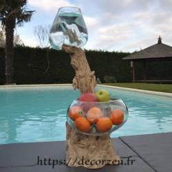 1 vase et un saladier en verre recyclé soufflé en fusion directement sur du bois flotté, les verres sont amovibles