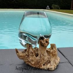 Verre à cocktail en verre recyclé soufflé en fusion sur du bois flotté, le vase est amovible pour le laver