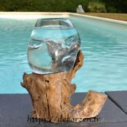 Verre à cocktail ou  vase en verre recyclé soufflé en fusion sur du bois flotté, le vase est amovible