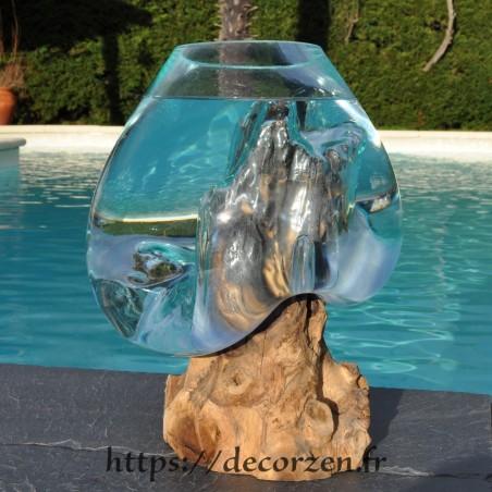 Aquarium ou  vase en verre recyclé soufflé à la bouche en fusion sur du bois flotté, le vase est amovible pour le lavage.