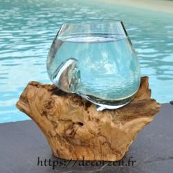Verre à duo ou  vase en verre recyclé soufflé en fusion sur du bois flotté, le vase est amovible pour le laver