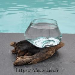 Terrarium ou ramequin apéro en verre recyclé soufflé en fusion sur du bois flotté. Le verre s'enlève et passe au lave-vaisselle