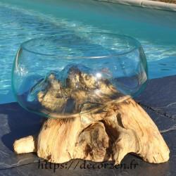 Terrarium, saladier ou ramequin en verre recyclé soufflé moulé en fusion sur du bois flotté.