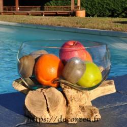Terrarium, bonbonnière ou ramequin à apéro en verre recyclé soufflé en fusion sur du bois flotté.