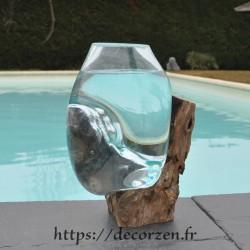 Aquarium ou  vase en verre recyclé soufflé à la bouche en fusion sur du bois flotté, le vase est amovible