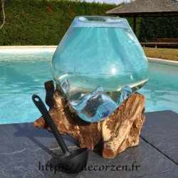 Aquarium ou  vase en verre recyclé soufflé en fusion sur du bois flotté, le vase est amovible pour le lavage.