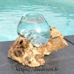 Verre à duo ou  vase en verre recyclé soufflé sur du bois flotté, le vase est amovible pour le laver