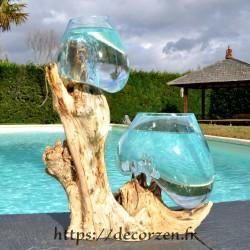 2 aquariums en verre recyclé soufflé en fusion directement sur du bois flotté, les verres sont amovibles